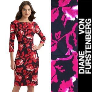 DIANE VON FURSTENBERG Silk Floral Print Dress
